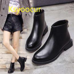 e9b3b01f5dd Ksyoocur Back Zipper Black Ankle Boots For Women Warm Insole Women Boots  Low Heel Autumn winter Shoes j002
