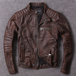Thick Genuine Leather Australia - Vintage Washed stone mill slim tid men's motorcycle leather coats first layer of genuine cowhide leather