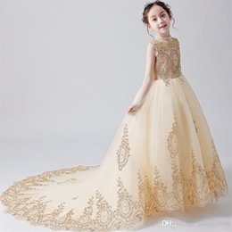 $enCountryForm.capitalKeyWord Australia - Champagne Flower Girl Dresses with Sash Lace Appliques Custom Made Ball Gown First Communion Dresses for Girls Elegant Hot Sale