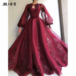 muslim women evening gown Australia - Muslim Arabic Burgundy Evening Dresses Long Sleeve Appliques Prom Gown Party Dress O Neck Tulle Evening Dress for Women