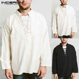 $enCountryForm.capitalKeyWord NZ - 2019 INCERUN Retro Mens Tee Tops Long Sleeve Bandage Shirt Knight Top Medieval Peasant Vintage Clothing Camisa Blusas Plus Size