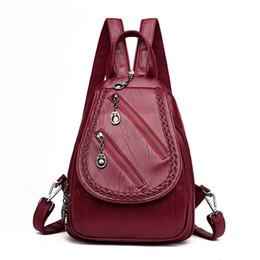 $enCountryForm.capitalKeyWord Australia - Fashion Double Zipper Leisure Women Backpack Pu Leather Backpacks Female School Shoulder Bags For Teenage Girls Travel Back Pack J190620