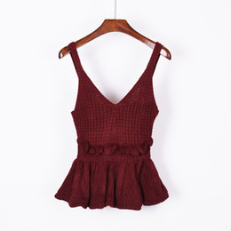 2cc5fc20a07c57 Sexy Stretchable Knit V Neck Crop Cami Tops Summer Style Vogue Plain Women  Sexy Spaghetti Strap Camisole Tank Shirt
