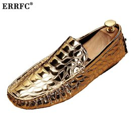 $enCountryForm.capitalKeyWord Australia - ERRFC Luxury Gold Men Loafer Shoes Fashion Forward Slip On Silver Moccasin Shoes Man Black Leisure Trending Alligator Pattern 43