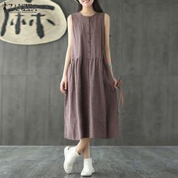 da809b8a9db25 2019 Oversized Women Sleeveless Summer Party Long Vest Tank Vestido Casual  O Neck Check Plaid Cotton Linen Pleated Dress