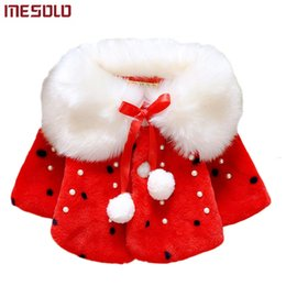 White Faux Fur Shorts Australia - Autumn Winter Baby Girls Faux Fur Pearls Fleece Lapel Collar Infant Kids Outerwear Princess Jacket Coats