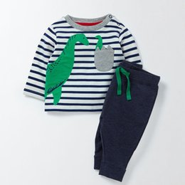 Jump Suits NZ - Jumping Meters Autumn Spring Boys Clothing Sets Applique Children Clothes Long Sleeve Knitted Stripes Kids Boys Suits Animal Set J190511