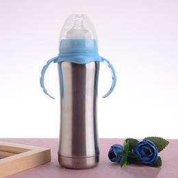 Wholesale stainless steel baby feeding bottle with handle oz ml insulated toddler nursing bottle infant sippy cup milk bottle for kids