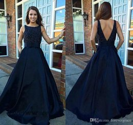 blue beaded Australia - 2019 Elegant Navy Blue Beaded Prom Dress A Line South African Sleeveless Long Formal Holidays Evening Party Gown Custom Made Plus Size