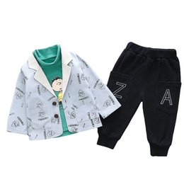coat shirt pants Australia - baby boy clothes casual boys outfits baby infant boy designer clothes coat jacket+t shirt+jeans pants boys designer clothes A7587