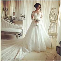 bridal long sleeve lace cover up NZ - 2019 Elegant Applique Ball Gowns Wedding Dresses Jewel Long Sleeves Lace Up Cathedral Train Bridal Dresses Fashion Wedding Gowns