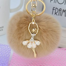 $enCountryForm.capitalKeyWord Australia - ISKYBOB Fashion Women Rabbit Fur Cony Hair Rhinestone Ball Pom Pom Charm Car Keychain Handbag Key Ring Bag Accessories