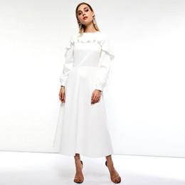 2be32d71c79 Frauen Maxi Kleider Casual Weiß Süße Winter OL Aline Plain Falbala  Reißverschluss Taste Rüsche Ärmel Weibliche Elegante Langes Kleid