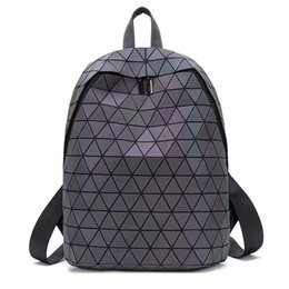 school drawstring bags for girls UK - Women Laser Luminous Backpack Geometric Shoulder Luminous Drawstring Female Daily Backpack Folding School Bags For Teenage Students