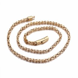 figaro chains 4mm UK - Stainless Steel 60cm Long Chain Necklaces For Men Gold 4mm Width Byzantine Chain Necklaces Homme Jewelry Accessories 2018
