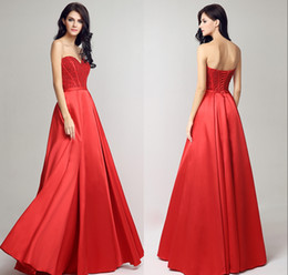 Balls Bra Australia - 2019 New Spring And Summer Bra A-Line Formal Evening Dresses Red Satin Back Strap Long Beaded Ball Prom Party Gowns