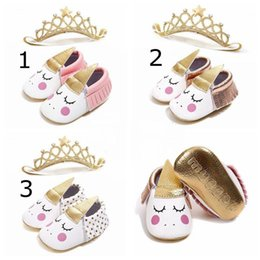 Wholesale INS Unicorn Baby Walking Shoes infant crown headband Moccasins Baby First Walkers tassels soft Leather Infants shoes Mos