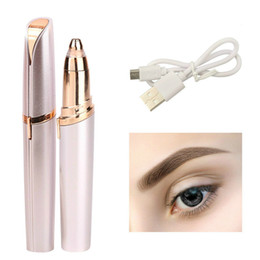 Trim Eyebrow Hair Australia - New Exquisite Mini Electric Eyebrow Trimmer Lipstick Brows Pen Hair Remover Painless Eye brow Razor Epilator with LED Light box-packed