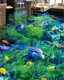 $enCountryForm.capitalKeyWord NZ - pvc floor waterproof wallpaper for bathroom Underwater world dolphin 3d floor tiles self adhesive 3d wallpaper walls floors