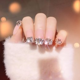 $enCountryForm.capitalKeyWord NZ - 10 Pcs Fashion Glitter Sequins Fake Nails Sticker Faux Ongles French Acrylic False Nail Tips Nail Art with Rhinestone Decoration