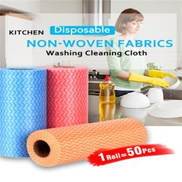 eco friendly towels UK - Free Shipping Wash Cloth Non Woven 50pcs roll Eco-Friendly Cleaning Duster Cloth Dish Cloth Break Point No Oil Rag Furniture Paper Towels