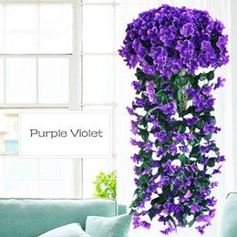 Fake Orchid Flowers Australia - Violet Artificial Valentine's Day Decoration Simulation Wall Hanging Basket Flower Orchid Fake Silk Vine Flowers C19041701