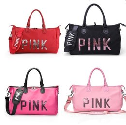 Waterproof laptop china online shopping - Pink Letter Sequin Duffle Bags Women Handbag Large Capacity Waterproof Outdoor Travel Sports Beach Shoulder Bags Tote Shopping Bag best