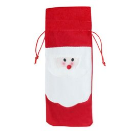 Discount gift bags dhl shipping - Santa Claus Red Wine Bottle Cover Bags Cute Flannelette Christmas Gift Holders Dinner Table Decoration Home DHL shipping