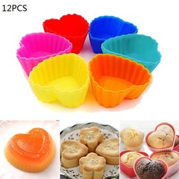 Discount heart shaped molds - Hoomall 12pcs Lot Heart Shape Silicone Cupcake Liners Cake Tools Reusable Mini Cake Mold Cupcake Muffin Cups Baking Tool