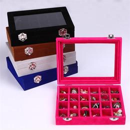 821e726bf Caja de almacenamiento de la bandeja de almacenamiento de la bandeja de la  exhibición de la joyería de 24 secciones Organizador de la tapa de cristal  ...