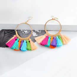 $enCountryForm.capitalKeyWord NZ - Gold Circle Bell Dangle Tassel Ethnic Dropping Earring For Women Cotton Wool Tassel Earring For Wedding Gift Wholesale Jewelry