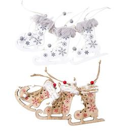 $enCountryForm.capitalKeyWord Australia - 3PCS Christmas Tree Shoes Pendant Painted Christmas Skates Innovative Skates Ski Shoes Wooden Decorative Pendant #EW