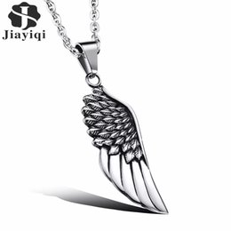 $enCountryForm.capitalKeyWord Australia - Jiayiqi Fashion Mens Necklaces Stainless Steel Vintage Gothic Feather Angel Wing Pendants Silver Plated Male Jewelry Accessories