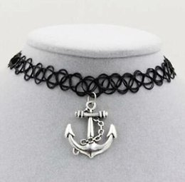 Gift Boat Australia - Boat Anchor Tattoo Collar Necklace Pendant Black Leather Cord Necklace Men Women Pendant Jewelry Charm Fashion Party Friendship Gift