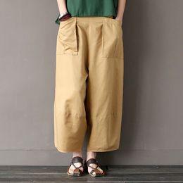 Cotton Linen Trousers Women Australia - Wide Leg Loose Women Pants Big Pockets Cotton Linen Ankle-length Casual Loose Trouser
