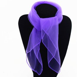 Girls Fashion Scarves UK - 1Pc Woman Fashion Trendy Solid Girls Chiffon Square Scarf Beach Shawl Sunscreen Lady Neck Warmer Wrap Bandana
