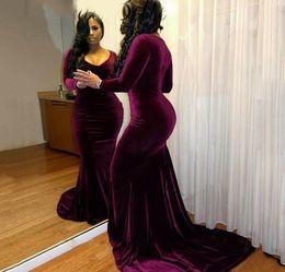 Holiday Velvet Australia - Black Girls Velvet Prom Dress Dubai Arabic Mermaid Long Sleeves Formal Holidays Wear Graduation Evening Party Gown Custom Made Plus Size
