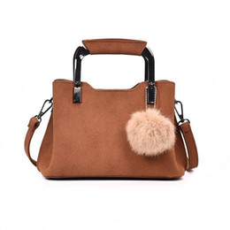 Two Ball Hair Australia - Handbags Women Pop Designer Pu Leather Pom Poms Fashion Autumn Winter Shoulder Bag Casual Wild Hair Ball Bag Messenger Bags Handbag