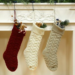 Decoration cartoon online shopping - European Style Large Knitted Wool Hanging Gift Bag Christmas Candy Socks Decorative Socks Three Styles Home Socks T3I5314