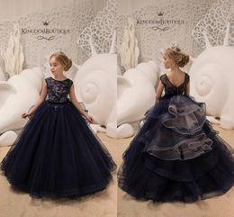 Floor length pageant dresses online shopping - Newest Navy Blue Arabic Style Flower Girl Dresses Vintage Short Sleeves Pageant Dresses Formal Girl Dresses For Wedding BC0239