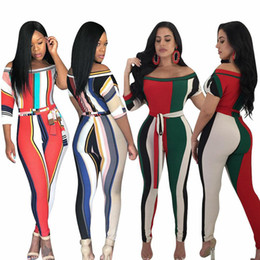 xxl women s jumpsuits NZ - Rainbow Colorful Stripe Off Shoulder Women Jumpsuits Knitted Short Sleeve Sashes Skinny Rompers Sexy Club Overalls S-XXL L5188