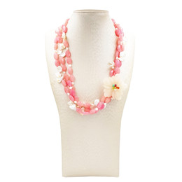 $enCountryForm.capitalKeyWord UK - LiiJi Unique Dyed Pink Jades with Baroque Pearl Yellow Jades Flower 3 Rows Necklace with Shell Toggle Clasp 54cm
