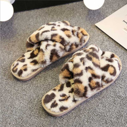 female home slippers Australia - Winter Women Home Slippers Fur Slides Fluffy Female Flip Flops Furry Leopard Print Indoor Ladies Shoes Claquette Fourrure