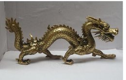 $enCountryForm.capitalKeyWord Australia - Copper Brass Exquisite Home Long 11 inch Metal crafts Home Decoration Chinese Brass Carved Dragon Statue dragon Sculpture