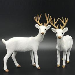 $enCountryForm.capitalKeyWord NZ - Christmas White Reindeer Xmas White Elk Plush Plastic 2 Size Simulated Standing Kids Wedding Decor Toy Simulation Deer