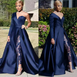 Navy Suit Lining Canada - Elegant Jumpsuits Evening Dresses Pants Suits Dark Navy One Shoulder Long Sleeve Split Prom Gowns Plus Size A Line Celebrity Party Dress