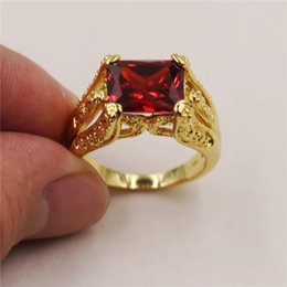 Gold Timeless NZ - Timeless Radiant Red Garnet 18K Yellow Gold Filled Solitaire Claw Ring gift for Men