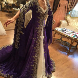 turkish evening dresses long sleeve UK - Royal Arabic Lace Long Sleeve Prom Dresses Evening Wear With embroidery Muslim Dubai Party Dress Glamorous Purple Turkish Formal Gowns