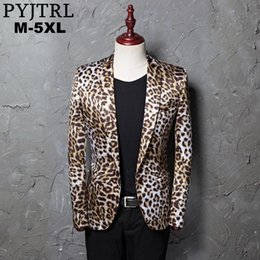 Wholesale leopard print suit for men for sale - Group buy PYJTRL Brand M XL Tide Men Leopard Print Fashion Leisure Blazer Masculino Slim Fit Suit Jackets For Men Singer Costume