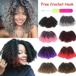 """Afro Synthetic Curly Hair Weave Australia - Hot! 8"""" 3Pcs pack Mali Bob Curly Weave Twist Crochet Braid Synthetic Hair Extensions Afro Kinky Curly Wave Crochet Braiding Hair"""